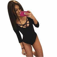 Women Skinny Lacing Jumpsuit