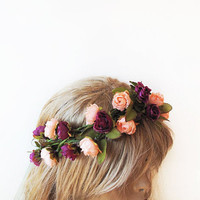 Wedding Flower Crown, Floral Crown, Woodland Bridal Headpiece, Pink Purple Hair Accessories