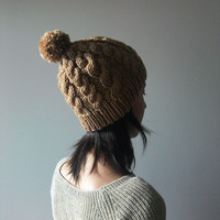 Hand Knitted Cable Chunky Beanie in Camel - Beanie with Pom Pom - Seamless - Wool Blend - Winter Fall
