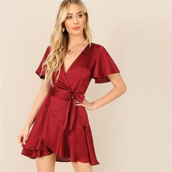 Burgundy Bell Sleeve Split Back Belted V-neck Wrap Stain Party Dress Women Solid Fit and Flare Ruffle Dresses