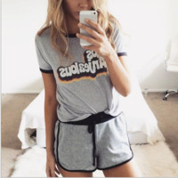 Letter Casual Print Two-Piece