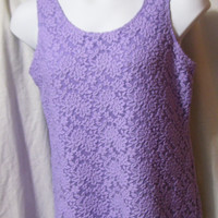 Stretch Lace, Top Blouse, Sleeveless, Fully Lined, Lavender Purple, Size Large, Susan Graver