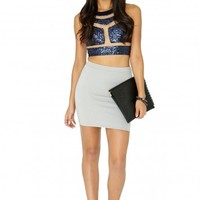 Missguided - Saloma Mesh Detail Sequin Crop Top In Navy