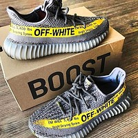 ADIDAS x Off-White Yeezy Boost 350 V2 Men's and Women's Fashion Sports Shoes