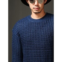 Mens Chunky Waffle Knit Sweater at Fabrixquare