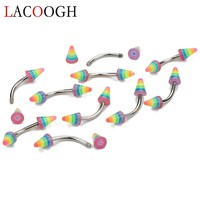 10pcs/lot Rainbow Color Stainless Steel Eyebrow Jewelry Rings Curved Piercing Barbells Nose Ring For Women Men Body Jewelry