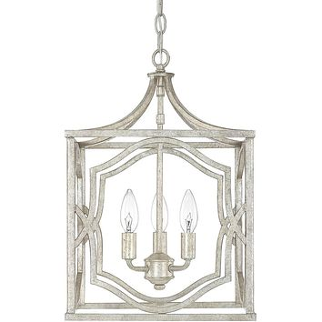 "12""W Blakely 3-Light Foyer Fixture Antique Silver"