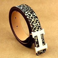 Hermes Belt Full Color Women Men Gold Buckle B104466-1 Leopard