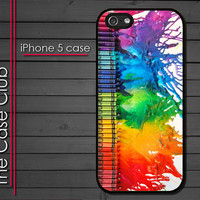 iPhone 5 Rubber Silicone Case - Melted Crayon Art - iPhone 5 Cover Case Black