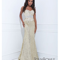 (PRE-ORDER) Tony Bowls 2014 Prom Dresses - Champagne Sequin Beaded Geometric Strapless Sweetheart Long Gown