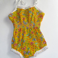 Vintage 70s 80s Butterfly Baby Romper Sunsuit