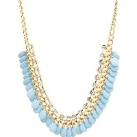 Lt Blue Dangling Bead & Rhinestone Collar Necklace by Charlotte Russe