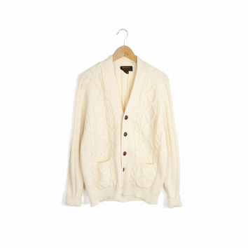 Vintage Cable Knit Grandpa Cardigan Sweater in Ivory - men's medium/large