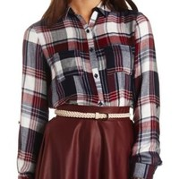 Flyaway Plaid Flannel Button-Up Tunic Top - Navy Combo