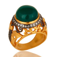 Green Onyx And White CZ Designer Ring In 18K Gold Vermeil Over Brass Jewelry