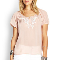 FOREVER 21 Embroidered Chiffon Peasant Top Peach/White