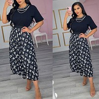 LV Louis Vuitton Fashion Women With short sleeves Top Long skirt two-piece