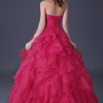 Strapless Wrap  Beaded Ruched Ruffled Lace Up Ball Gown