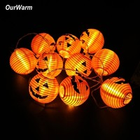 OurWarm Halloween Pumpkin String Lights 3D Pumpkin 10 LED 1.2M Battery Operated Halloween Decorations for Home Party Props Decor