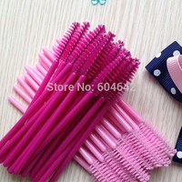 1000pcs/lot  make up brush synthetic fiber Disposable Eyelash Brush Mascara Applicator Pink mascara brush  and Rose red brush