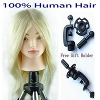 """18""""-26"""" Hairdressing Head Blonde and Brown Mannequin Head with 100% Human Hair Training Practice Training Head Mannequin Manikin"""