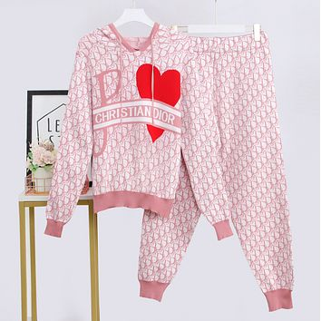 DIOR Fashion Casual Print Hoodie Top Sweater Pants Trousers Set Two-piece