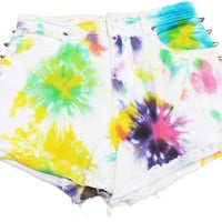 Tie Dye Shorts/ Distressed Shorts / Studded Shorts / Studded Denim Shorts / High Waisted Shorts