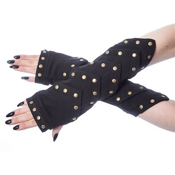 Poizen Industries Goth Punk Black Scale with Bronze studded Arm warmers Sleeves - Whisper