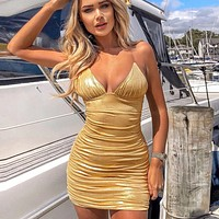 New Fashion Invisible Solid Color Strap Pleated Dress Gold