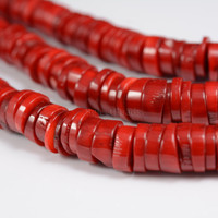 red coral,11x2.5mm heishi bead,coral beads,red beads,spacer beads