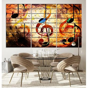 Music Note Abstract Large Wall Art Canvas Print