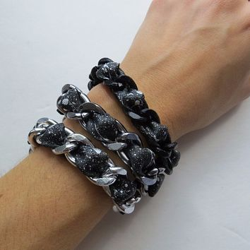 Metallic Koko - Genuine Leather Chain Bracelet  w/ Metallic Silver Paint Splatter