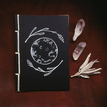 lavender moon notebook • witch journal - black notebook - moon journal - small notebook - lavender art notebook - pagan journal