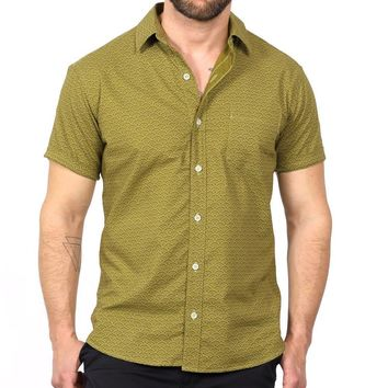 Light Olive Green Wave Print Short Sleeve Shirt - Ollie One Piece Size S Available