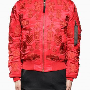 Alpha MA-1 jacket from F/W2015-16 Marcelo Burlon County of Milan collection in red