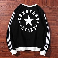 Converse New fashion letter star long sleeve top sweater Black