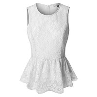 Fitted Floral Lace Round Neck Sleeveless Peplum Top (CLEARANCE)