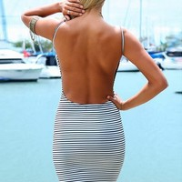 Mini Striped Dress - Clueless | Low Back Dress