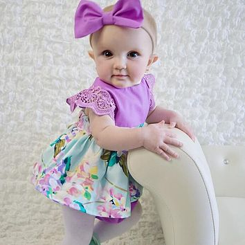 Newborn Baby Girls Clothing Bodysuit Jumpsuit Flower Tops Headband Bow 2pcs Outfits Clothes Set Baby Girl