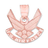 Rose Gold US Air Force Wings Pendant