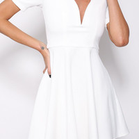 White V-Neckline Skater Dress with Lace Cut-Out Sleeve
