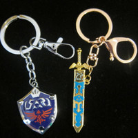Legend of Zelda Link's sword and sheild Key chain combo