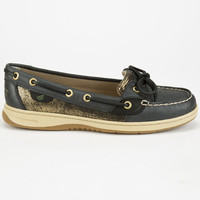 Sperry Top-Sider Angelfish Metallic Slip-On Womens Boat Shoes Black/Dark Gold  In Sizes