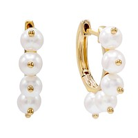 Pearl Dangle Huggie Earring 14K