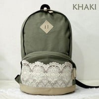 Canvas Backpack with Lace/ Preppy Knapsack/ Casual Rucksack/ School Backpack - 4 Colors (Khaki)