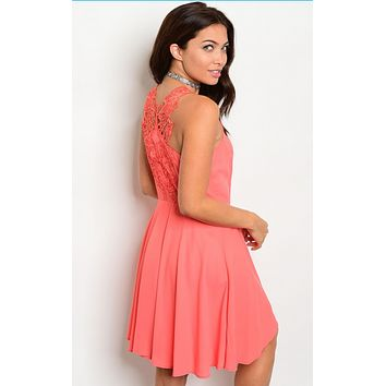 CORAL LACE BACK DRESS