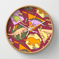 Nineties Dinosaur Pattern version 2. Wall Clock by chobopop