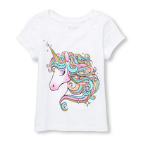 Toddler Girls Short Sleeve Glitter Unicorn Graphic Tee | The Children's Place