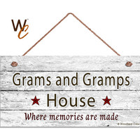 """Grams and Gramps House Sign, Where Memories Are Made, Distressed Wall Art, Gift For Grandparents, Weatherproof, 5"""" x 10"""" Sign, Made To Order"""