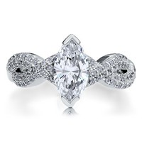 Sterling Silver 925 Marquise Cubic Zirconia CZ Woven Solitaire Ring #r602